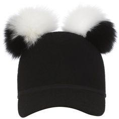 Get Charlotte Simone Women's Double Pom Pom Sass Cap - Black/White now at Coggles - the one stop shop for the sartorially minded shopper. Black And White Hats, White Caps, Sun Visor Hat, Visor Hats, Dope Hats, Pom Pom Beanie Hat, Beanie Hats, Charlotte Simone, White Beanies