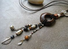 Brown Tagua nut Dangle necklace, Long Ethnic Beaded necklace, Statement necklace, Long Ethnic Boho necklace, Ethnic boho Jewelry
