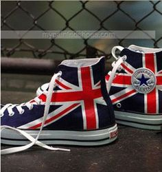 UK Flag Union Jack Sneakers Hand Painted High-top Painted Canvas
