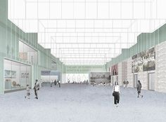 Museum of London design Caruso St John Architects (UK) with Alan Baxter Associates London Architecture, Architecture Graphics, Architecture Drawings, Architecture Logo, Photomontage, Photoshop, Caruso St John, London Museums, 3d Studio