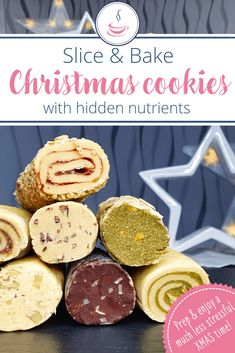 Slice and bake cookies - 7 flavors with hidden nutrients - - One basic dough, many variations - and you can prepare everything weeks in advance! The recipe can also easily be doubled or quadrupled. Buttery Shortbread Cookies, Lemon Cookies, Sugar Cookies Recipe, No Bake Cookies, Slice And Bake Cookies Recipe, Simple Cookie Recipe, Nutella Brownies, Cookie Exchange, Baking Recipes