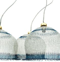 Crocheted Lampshade in silver and blue   4 inch diameter by Yoola