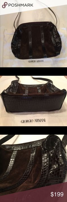 EMPORIO Armani Bag Shoulder bag, dark brown, Leather, interior is excellent condition, Preowned in good condition overall Bags Shoulder Bags