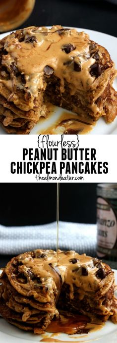 These Flourless Peanut Butter Chickpea Pancakes make a wonderful post workout or weekend morning breakfast. They contain tons of protein thanks to the chickpeas and peanut butter and they taste delicious! If youre a peanut butter lover youll love these Waffle Recipes, Brunch Recipes, Vegan Recipes, Cooking Recipes, Pancake Recipes, Chickpea Recipes, Cocktail Recipes, Chickpea Pancakes, Protein Pancakes