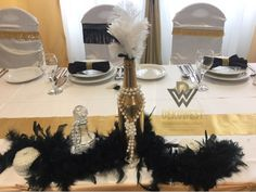 Gatsby Wedding, Art Deco Fashion, Table Settings, Style, Swag, Place Settings, Outfits, Tablescapes