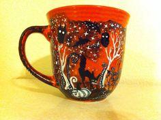Halloween Pumpkin Patch  handpainted spooky mug by InkyDreamz, $32.00