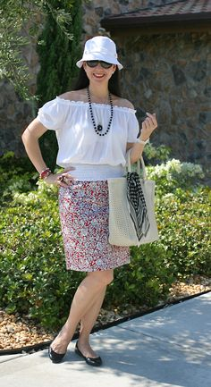 Ralph Lauren Cotton Bucket Hat and Sunglasses; Michael Kors Cotton Gauze Peasant Blouse; Liz Clairborne Cotton Sateen Skirt; Talbots Patent Leather Flat Shoes; Innue Pierced Leather Bag; Ann Taylor Silk Gauze Scarf; Anne Klein Porcelain and Diamonds Watch; Tiffany & Co. Sterling Silver and Black Jade Necklace.  A peasant chic look for the city or the beach.  http://www.akeytothearmoire.com/post/22710713184/peasant-chic