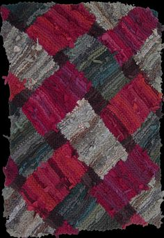 Red, green & brown lattice rug. www.rugsfromrags..... Sold