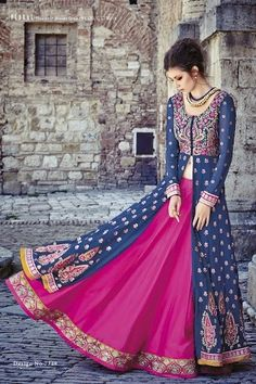 Blue and hot pink colour georgette anarkali /lehenga style dress