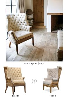 Restoration Hardware Deconstructed 19th C. English Wing Chair | $2,195 Vs @softsurrounding Fontaine Wingback Chair | $799