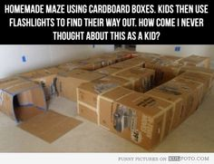 Cardboard box maze - Funny and cool maze for kids made from cardboard boxes -- kids then use flashlights to find their way out.