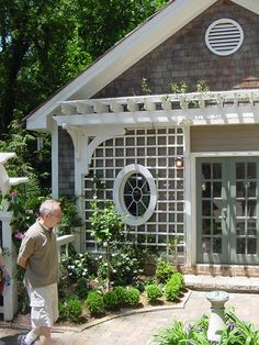Example of custom lattice (can be painted any color) - photographed by Heather Moll-Dunn Landscape and Garden Designer on the Connoisseurs Garden Tour around Atlanta