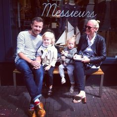 A #tenuedenimes family @linda_wit and @mrbaswit with their little ones! United by #acne #armorlux #grenson #doublerl #rrl #forteforte #lesprariesdeparis #ragandbone - thanks to @Maxime van Namen for the lovely view!