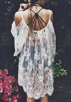 Love! Love LOVE this Dress! Sexy White Floral Lace Condole Belt Hollow-out Square Neck Elbow Sleeve Dress #Sexy #Boho #Chic #White #Lace #Floral #Dress #Fashion