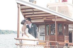 Bride + groom | Lake Geneva wedding | Wisconsin Bride Magazine. Lake Geneva Cruise Line's Steam Yacht Louise. At the Riviera Docks in Lake Geneva, Wisconsin.