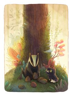 """""""Little Big Adventures Of A Cat Lost In The Woods""""; by Alena Tkach."""