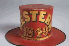 Paint Decorated Leather Parade Hat - Red, Pennsylvania , c 1840
