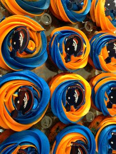Denver Broncos cupcakes www.cakesbykristenr.com Nerf Birthday Party, Nerf Party, Football Birthday, 10th Birthday Parties, My Son Birthday, Denver Broncos Cake, Go Broncos, Battle Party, Tiffany Party