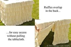 diy ruffle tablecloth--okay I could do something like this with found things, and we can dye them. That is what I needed dye for!