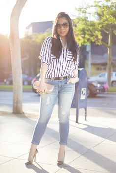 Haute Pink Pretty: Express striped Portofino Shirt + Express destroyed Stella jeans