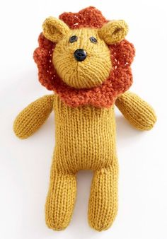 Free Knitting Pattern for Little Lion Sock Critter - Happy World Lion Day! This lion toy softie with a knit lace mane is 9-1/2 in. (24 cm) tall. Designed by Lion Brand Yarn.