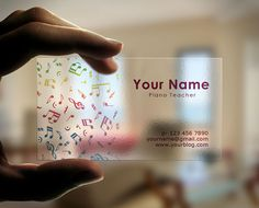 Creative transparent business cards idea for musicians and music teachers Features: 3×2.5 inches (0.125 inches bleed included) CMYK color 300 dpi Print ready vector file