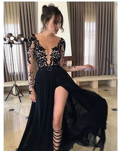 New Arrival Prom Dress Prom Gown,A-line Black Long Sleeve Prom Sexy Prom Dress,Long Black Evening Dresses,Prom Dresses Prom Dresses Long With Sleeves, Black Prom Dresses, A Line Prom Dresses, Homecoming Dresses, Sexy Dresses, Dress Prom, Dress Black, Party Dresses, Chiffon Dresses