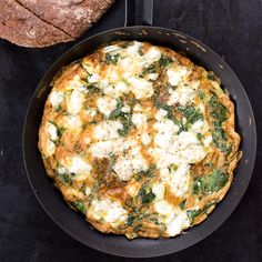 Spinach, Feta, and Tarragon Frittata | The combination of flavors here is pure genius. Tarragon is classic with both spinach and eggs, and a touch of sharp feta cheese accents the trio beautifully. Use these same ingredients to make superb omelets.