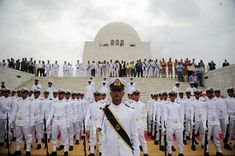 Pakistani Navy cadets march at the mausoleum of the founder of Pakistan Muhammad Ali Jinnah during a ceremony to mark the country's Independence Day in Karachi on August 14, 2012.