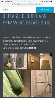 Nuova collezione Cloud Primavera Estate 2018 borse e accessori, qualche foto dei dettagli degli articoli fatti a mano e Made in Italy come e' sempre Cloud. Borse e accessori Cloud lamiacloud