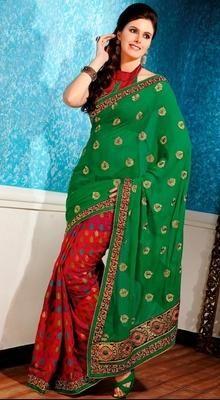 Trendy Green/Red Chiffon Embellished Sari # Beautiful Fashion Sarees # latest designer sarees