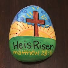 He is risen hand painted rock jesus matthew cross sunrise easter rocks б Vbs Crafts, Church Crafts, Bible Crafts, Rock Crafts, Arts And Crafts, Pebble Painting, Pebble Art, Stone Painting, Rock Painting
