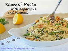 Scampi pasta with asparagus and walnuts - 15 minutes!
