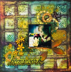 Layout by Elina using flower mask, texture stamps, chipboard embellishments, and stamped and die-cut clock images.
