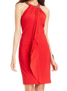 Xscape NEW Red Women's Size 14 Embellished Halter Draped Sheath Dress $189