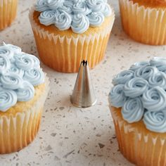 Ateco 16 Open Star Piping Tip Fancy Cupcakes, Blue Cupcakes, Blue Wedding Cupcakes, Cupcakes For Men, Cupcake Cake Designs, Cupcake Cakes, Cupcakes Lindos, Frosting Tips, Icing Tips