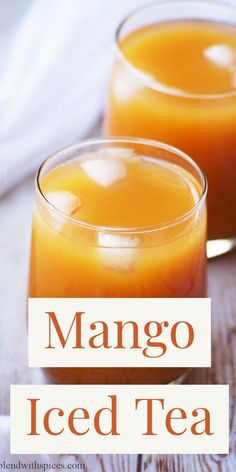 How to make Mango Iced Tea Recipe with step by step photos and video Refreshing and yummy mango drink made with black tea and fresh mangoes for hot summer afternoons. Iced Tea Recipes, Easy Drink Recipes, Mango Recipes, Alcohol Recipes, Delicious Vegan Recipes, Summer Recipes, Smoothie Recipes, Smoothies, Drink Recipes Nonalcoholic
