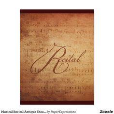 Musical Recital Antique Sheet Music Custom Invitation