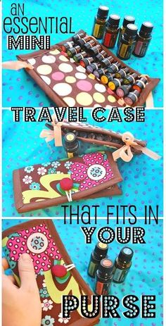 Dont risk loosing your big bottles! Mini Essential Oil Travel Case the size of a checkbook- DIY