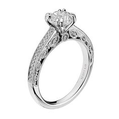 Scott Kay Heaven's Gate Engagement Ring with filigree featuring 0.29 carats diamonds in 14kt white gold and palladium