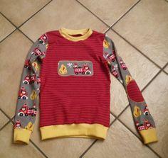 """Mein 1. selbstgenähtes Shirt für meinen Feuerwehr-Fan.  Schnittmuster """"Tomboy"""" von Farbenmix"""