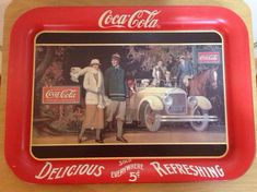 "Items similar to Vintage Coca Cola Tray Collectible – ""Touring Car"" on Etsy Coke Ad, Pepsi, Coca Cola Tour, Coca Cola Kitchen, Soda Fountain, Metal Trays, Dr Pepper, Coco, Historia"