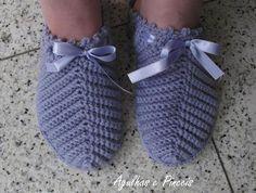 Pantunfla crochet azul