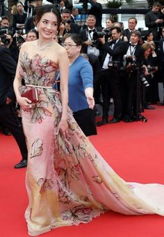 """Shu Qu in Elie Saab Couture attends the closing ceremony and """"Le Glace Et Le Ciel"""" premiere during the 68th annual Cannes Film. #bestdressed"""