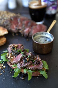 Dukkah crusted fillet with bone marrow herb butter.
