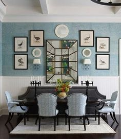 black accent wall in dining room | black accent walls | pinterest