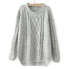 34,90EUR Pullover Strickpullover grau mit Zopfmuster