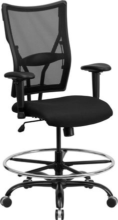HERCULES Series 400 lb. Capacity Big & Tall Black Mesh Drafting Chair with Height Adjustable Arms-HERCULES Series 400 lb. Capacity Big & Tall Black Mesh Drafting Chair with Height Adjustable Arms