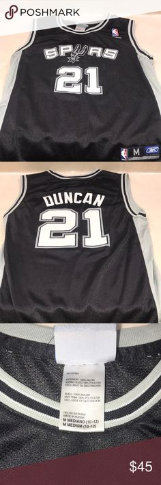 Tim Duncan Spurs Jersey This is a small Tim Duncan jersey a little used grey  white black Reebok Tops Tank Tops 11d3a1d5d