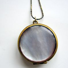 Vintage  Locket  Abalone Mother of Peal with by nanascottagehouse